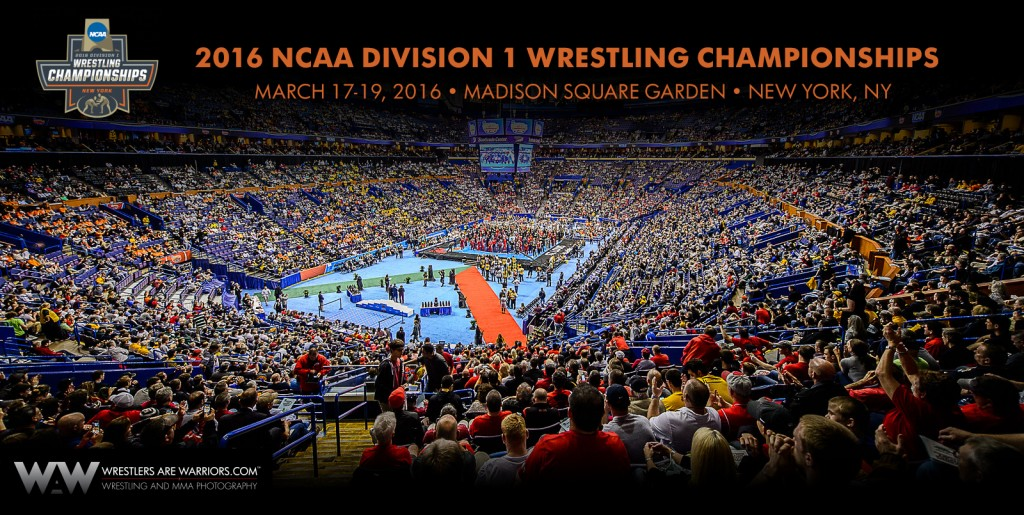 """""""Wrestlers compete at the 2015 NCAA championships at the Scottrade Center, St Louis, MO, March 21, 2015."""""""